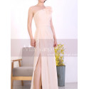 Peach Long Asymmetrical Evening Dress With Slit And One Flower Strap - Ref L1967 - 07
