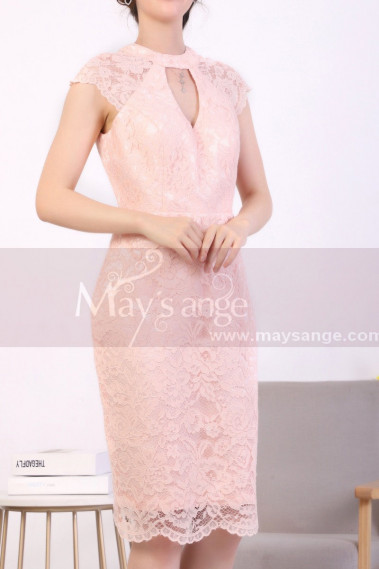Pink cocktail dress - Scalloped Hem Pink Lace Tight Dress - C916 #1