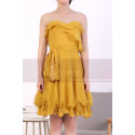 Mustard Yellow Strapless Dress With Flounce Skirt - Ref C917 - 02