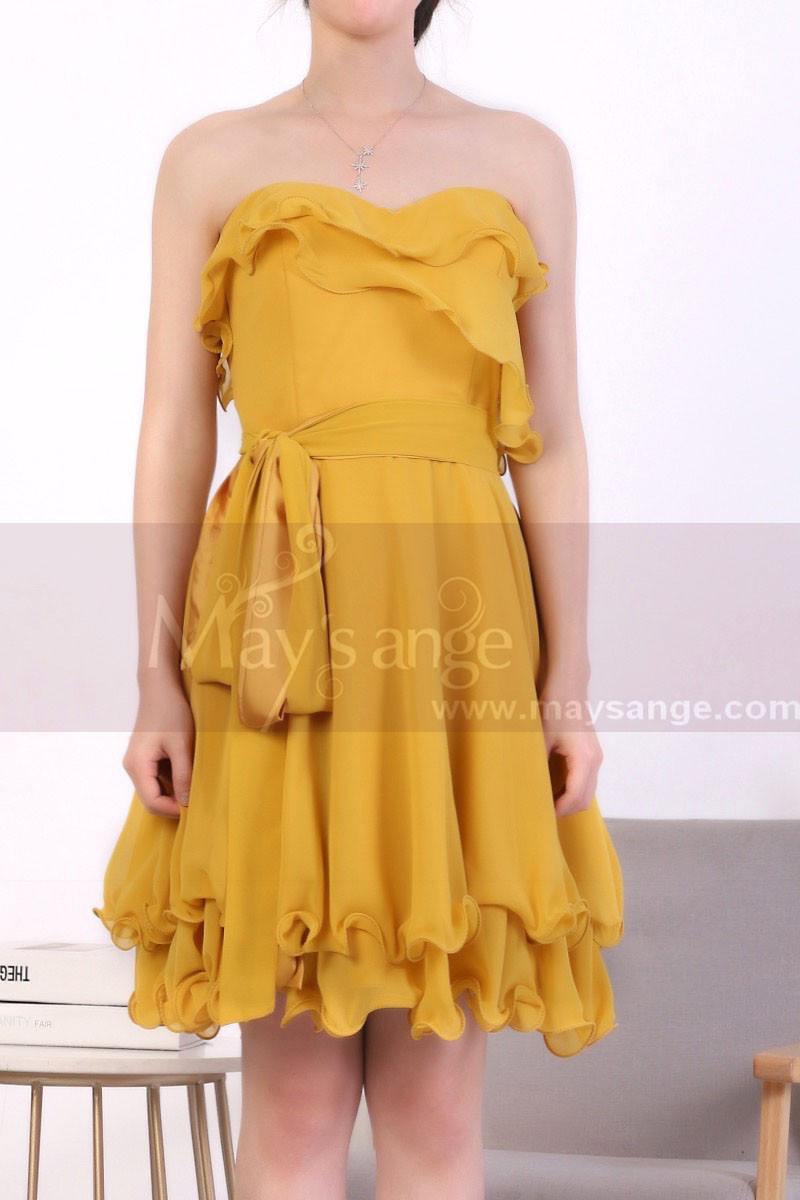 Mustard Yellow Strapless Dress With Flounce Skirt - Ref C917 - 01