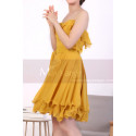 Mustard Yellow Strapless Dress With Flounce Skirt - Ref C917 - 04