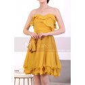 Mustard Yellow Strapless Dress With Flounce Skirt - Ref C917 - 05