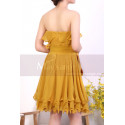 Mustard Yellow Strapless Dress With Flounce Skirt - Ref C917 - 07
