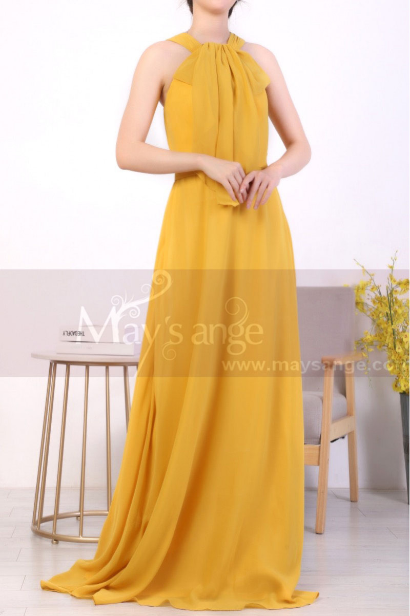 Licou Collar Long Sleeveless  Mustard Yellow Prom Dress - Ref L1968 - 01