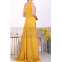 Licou Collar Long Sleeveless  Mustard Yellow Prom Dress - Ref L1968 - 05