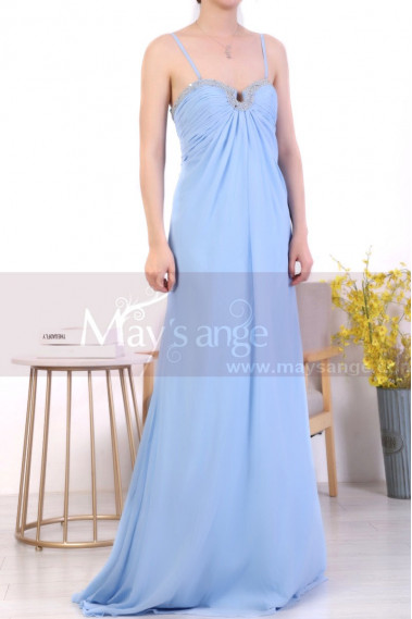 Sky Blue Plus Size Long Chiffon Bridesmaid Dresses Shiny Neckline - L1969 #1