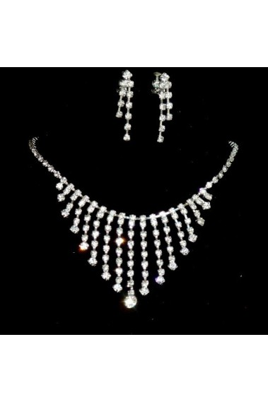Sparkling wedding necklace set designs - E096 #1