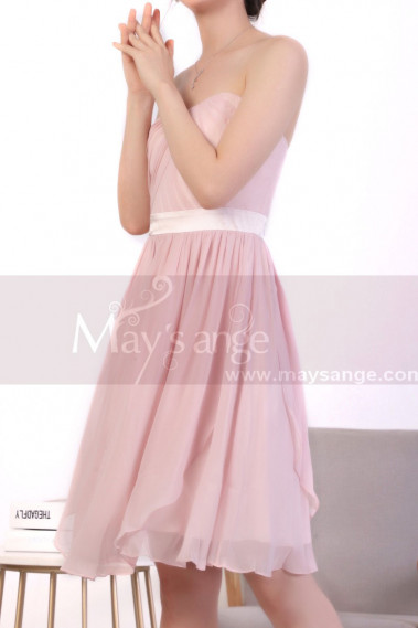 Draped Top Pink Chiffon Strapless Dress - C922 #1