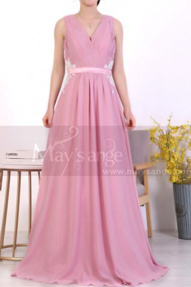 A-Line Long Formal Pink Dress With Back Tie Belt And White Lace - L1971 #1