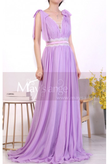Long Chic Lilac Backless Dress With Lace And Bows On The Shoulders - L1972 #1