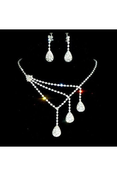 Necklace and earring set sparkly stone - E100 #1