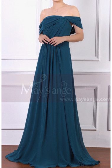 Off The Shoulder Chiffon Green Maxi Dress For Ceremony - L1973 #1