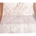 Embroidered A-Line Transparency White Backless Wedding Dresses With Train - Ref M067 - 07