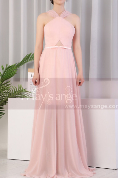Pink evening dress - Long Pink Prom Dress Chiffon With Cut Out Top And Waist Belt - L1975 #1