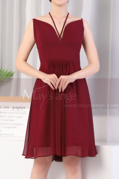 Crossed Back Short Burgundy Prom Dresses With Neck Straps - C923 #1