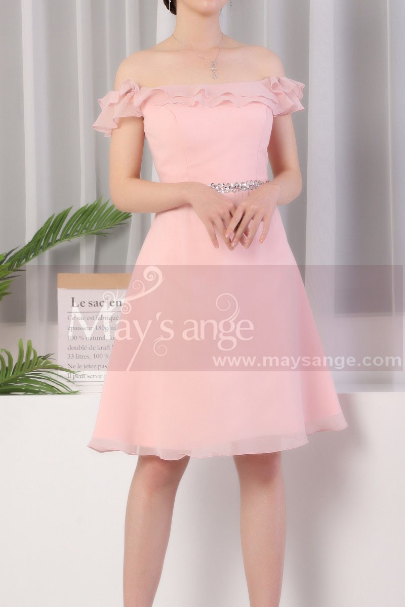 Ruffle Top Off The Shoulder Pink Cocktail Dress And Shiny Belt - Ref C924 - 01