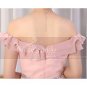Ruffle Top Off The Shoulder Pink Cocktail Dress And Shiny Belt - Ref C924 - 06