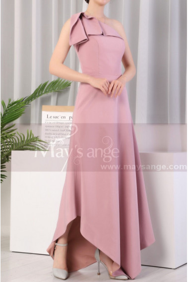 Asymmetrical Dusty Pink Ruffle Neckline Wedding Party Dresses - L1976 #1