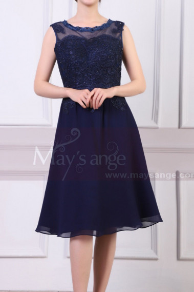 Blue cocktail dress - Sleeveless Short Navy Dress For Cocktail With Embroidered And Shiny Top - C925 #1
