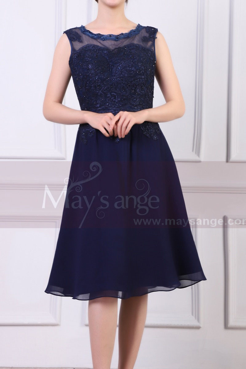Sleeveless Short Navy Dress For Cocktail With Embroidered And Shiny Top - Ref C925 - 01