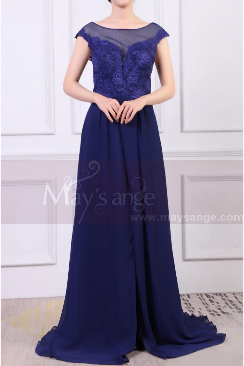 Cap Sleeves Blue Sexy Evening Dress With Slit And Crossed Back - Ref L1977 - 01