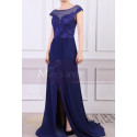 Cap Sleeves Blue Sexy Evening Dress With Slit And Crossed Back - Ref L1977 - 03