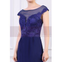 Cap Sleeves Blue Sexy Evening Dress With Slit And Crossed Back - Ref L1977 - 04