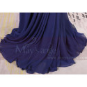 Cap Sleeves Blue Sexy Evening Dress With Slit And Crossed Back - Ref L1977 - 06