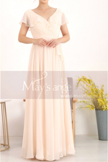 Floor Length Chiffon Yellow Pale Mother Of The Groom Dresses With Sleeves - L1954 #1
