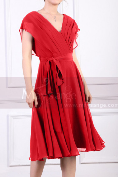 Red cocktail dress - Ruched Bodice Short Burgundy Chiffon Prom dresses Tie Belt - C914 #1