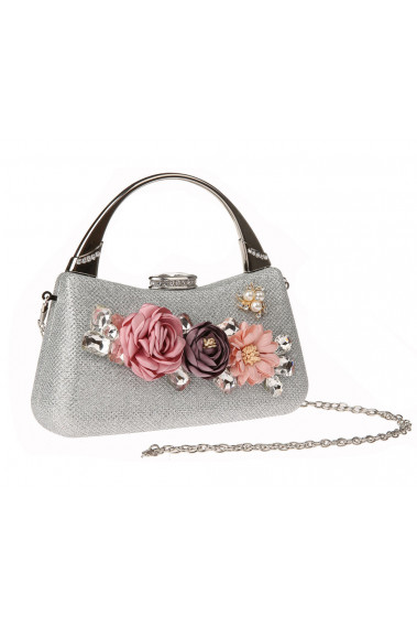 Silver evening clutches with Flowers - SAC376 #1