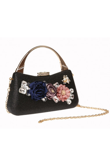 Black clutch with flower and crystal - SAC383 #1
