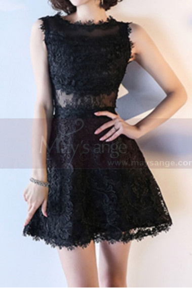 Lace Black Short Semi-Formal Dress With Yoke - C989 #1