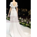 Scalloped V-Neck White Vintage Wedding Dresses With Sleeves - Ref L1989 - 03
