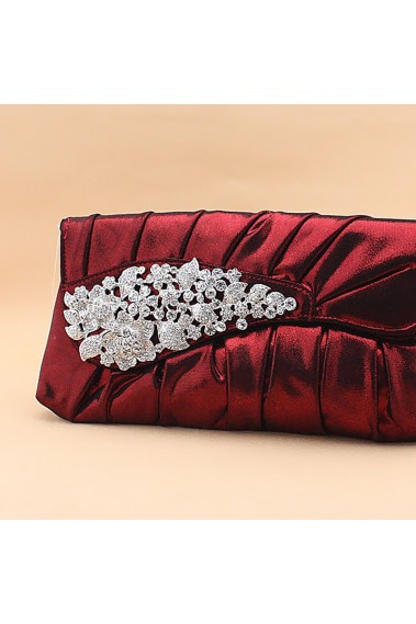Burgundy clutch purse with rhinestone - SAC148 #1