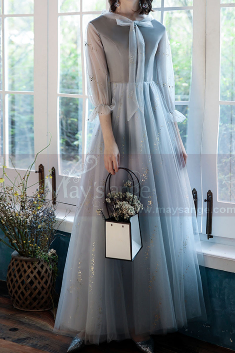 Silver Gray Tulle Vintage Princess Prom Dress With Neck Tie - Ref L1991 - 01