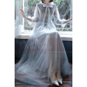 Silver Gray Tulle Vintage Princess Prom Dress With Neck Tie - Ref L1991 - 03