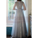 Silver Gray Tulle Vintage Princess Prom Dress With Neck Tie - Ref L1991 - 04