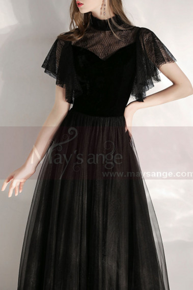 Black Velvet Vintage Gala Evening Dresses - L1990 #1
