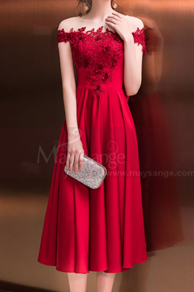 Robe de cocktail fluide - Robe Cocktail Midi Rouge Framboise Chic Haut Transparent Et Dentelle Délicate - C992 #1