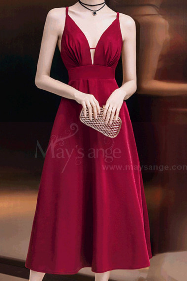 Burgundy Corset Open Back Sexy Prom Dress - C993 #1