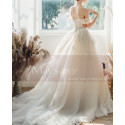 Off The Shoulder Corset Ivory Wedding Dress With Applique - Ref M069 - 02