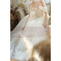 Off The Shoulder Corset Ivory Wedding Dress With Applique - Ref M069 - 04