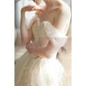 Off The Shoulder Corset Ivory Wedding Dress With Applique - Ref M069 - 05