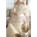 Off The Shoulder Corset Ivory Wedding Dress With Applique - Ref M069 - 07