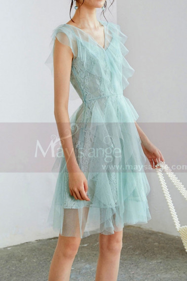 Cocktail dress with short sleeves - Short Mint Green Party Dress In Ruffles - C994 #1