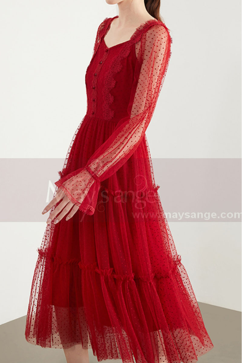 Vintage Red Party Gowns With Long Sheer Sleeves - Ref C1922 - 01