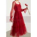 Vintage Red Party Gowns With Long Sheer Sleeves - Ref C1922 - 05