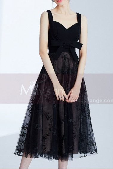 Midi Black Elegant Gown With Star Tulle Skirt - C995 #1