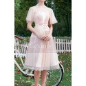 Ruffled Sleeves Tulle Pink Ball Gown Dress With Rhinestones - Ref C996 - 02